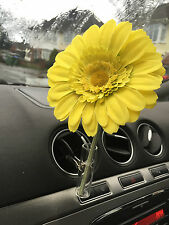 13CM LIME SOFT TOUCH GERBERA DAISY VW FLOWER AND  AUTO CAR VENT VASE, UNIVERSAL