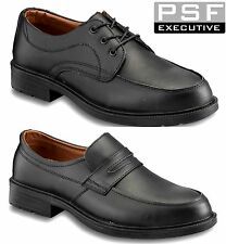 Mens PSF Executive Black Leather Brogue Smart Work Steel Toe Cap Safety Shoes SZ