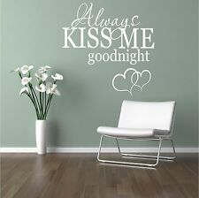 Always Kiss Me Goodnight Love Quote Couple Wall Art Sticker Decal Mural Transfer