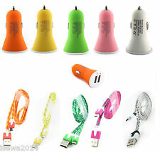 2.1Amp Dual Usb Mini Car Charger Adapter & Micro Data Cable For HTC A9,One M9,M8