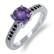 1.47 Ct Round Purple Amethyst Black Diamond 925 Sterling Silver Engagement