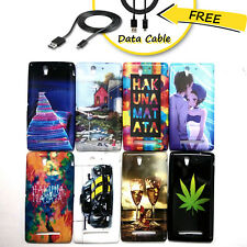 Stylish Look Rubber back case cover For Sony Xperia C3 + Free Data Cable