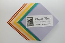 ORIGAMI PAPER. SMOOTH 80gsm 100 DOUBLE SIDED ASSORTED COLOURED SHEETS IN 2 SIZES