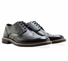 Redfoot Men's UK 7 & 8 Black Leather Embossed Gibson Brogue Smart Formal Shoes