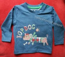 NEW baby boy blue long sleeve tartan Top Dog t shirt age 3-6 6-9 Months Cotton