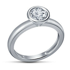 White Platinum Plated .925 Sterling Silver RD White CZ Solitaire Women's Ring 9