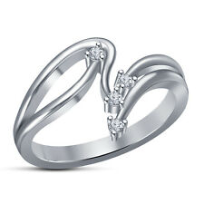White Cubic Zirconia RD Cut Wedding Band Women's Ring .925 White Platinum Plated