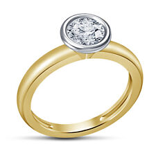 Solitaire Anniversary Ring White Cubic Zirconia Round Cut .925 14K Gold Plated