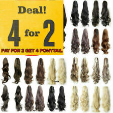 Deluxe Thick Clip in Hair Extensions Claw Jaw Ponytail Pony Tail Hairpieces