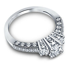 Platinum Over 925 Sterling Silver White CZ Pretty Three Stone Ring For Women