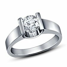 Platinum Over 925 Sterling Silver White CZ Solitaire Engagement Ring For Women's