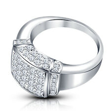 Riva Jewels Platinum Plated 925 Silver White Cubic Zirconia Lovely Men's Ring