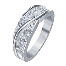 Pretty New Round Cut White Cubic Zircon Band Ring in Platinum Plated 925 Silver
