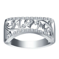 White Platinum Plated 925 Silver White CZ Mom Heart Band Ring Spacial For Ladies