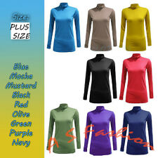 AS15 Womens Turtle Polo Neck Stretch  Ladies Long Sleeve Tshirt Tops Size 8-26