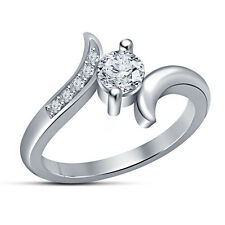 New Platinum Finish .925 Silver RD Cut White CZ Solitaire Bypass Women's Ring 7
