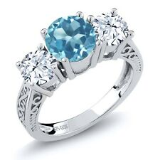 2.90 Ct Round Swiss Blue Topaz 925 Sterling Silver 3-Stone Ring