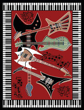 Musical Instrument Piano Key Bordered Red Area Rug Guitar Music Notes Carpe