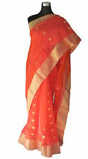 Indo Mood | Hand Woven Silk By Cotton Pure Chanderi Bright Pink & Orange Saree