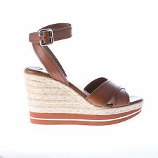 "PRADA damen schuhe women shoes Brown ""bruciato"" leather crisscross wedge sandal"