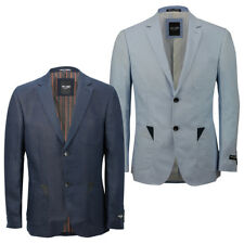 Mens Navy Light Blue Linen Blend Fitted Blazer Casual Designer Suit Coat Jacket