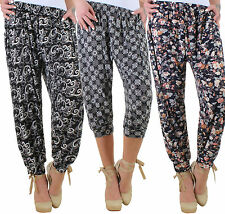 Ladies Stretch Trousers Beach Summer pants Baggy Capri Plus size up to 48/50 17b