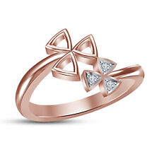 Rose Gold Color White Cubic Zirconia 925 Sterling Silver Fancy Flower Ring