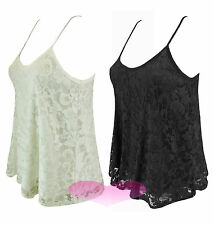 Womens Elegant Lace Strappy Swing Cami Vest Scoop Neck Floral Lace Top Size 8-20