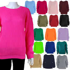 NEW WOMENS LADIES PLAIN BAGGY JUMPER CHUNKY SWEATER KNITTED PLUS SIZE 8 - 18