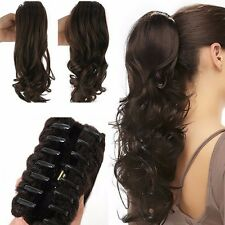 Real Synthetic Claw ponytail long curly wavy clip in hair extensions brown red