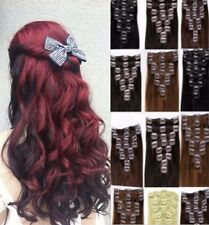 Real Quality Hair Extensions Full Head 8 piece Clip on 18 clips Feels Human red