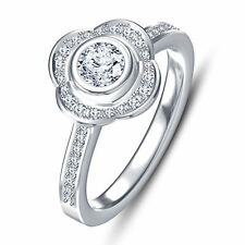 White Gold Finish 925 Simulated Diamond Solitaire W/ Accent Engagement Ring