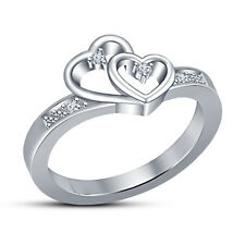 Very Attractive Double Heart Design For Women's In sterling Silver White Plated