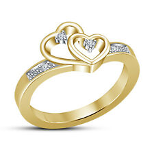 18K Gold Plated Sterling Silver White Round CZ Double Heart Shape Ring