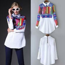 Korean Fashion Womens Chiffon Shirts Long Sleeve Floral Blouses Crew Neck Tops