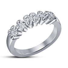 Five Stone Flower Shape Band Ring White Platinum Over 925 Silver RD White CZ 9