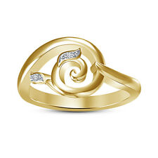 """14K Gold Plated 925 Silver Round Cut White CZ New Design""""Swiral"""" Women's Ring 8"""