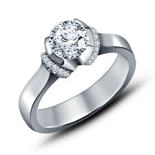White Platinum Plated 925 Silver RD White CZ Solitare With Accents Women's Ring
