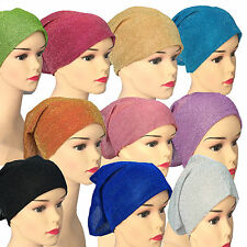 Glitter Under Scarf Bonnet Womens Girls Tube Chemo Cap Under Hijab Head Scarf
