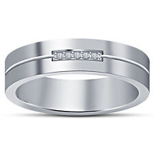 Women's Beautiful Five Stone Band Ring Over Platinum 925 Silver White Round CZ