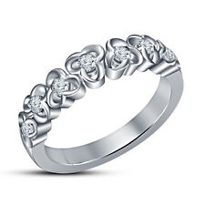 White Platinum Plated White CZ 925 Sterling Silver For Women's Three Ston Ring 5