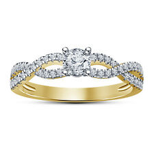 14K Gold Plated 925 Silver White RD CZ Wonderful Solitare With Accents Ring