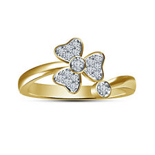 18K Gold Plated 925Silver White Simulated Diamond Women's Attractive Bypass Ring