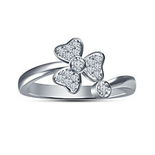 White Platinum Plated 925 Sterling Silver White RD CZ Flower Shape Women's Ring