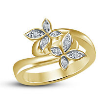 925 Steling Silver Gold Plated White Cubic Zirconia Attractive Butterfly Ring