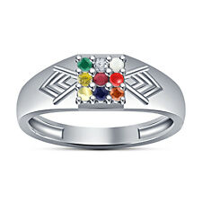White Platinum Plated 925Sterling Silver Multicolor CZ Men's Fancy Navratna Ring