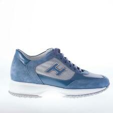 HOGAN scarpe donna women shoes INTERACTIVE sneaker in camoscio più vernice BLU