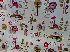 Children's Fabric Jungle Print Canvas Pink or Blue FQ, Half Metre, Metre Lengths