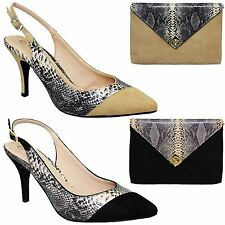 FLV359 Tessie Womens Sling Back Pointed Toe Suede Snake Court Low Heels