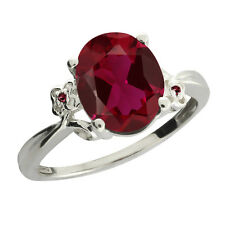3.38 Ct Oval Red Created Ruby Rhodolite Garnet Sterling Silver Ring